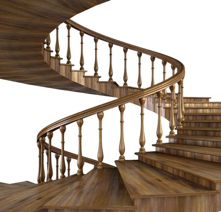 spiral wooden staircase.