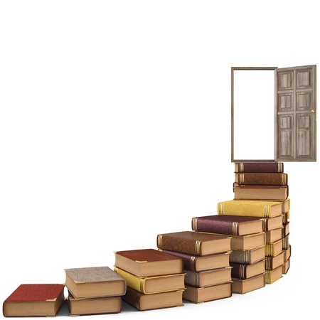 stairs made of books leading to the open door. isolated on white.