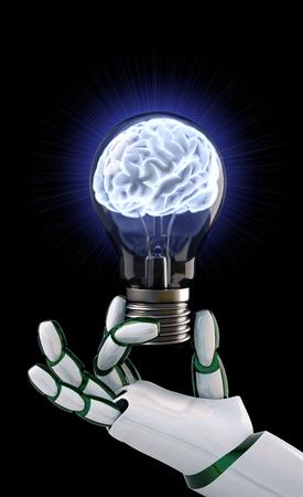Photo pour Robot hand holding a light bulb with a brain inside. - image libre de droit
