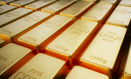 Rows of Gold bars. Financial concept. 3d rendering.