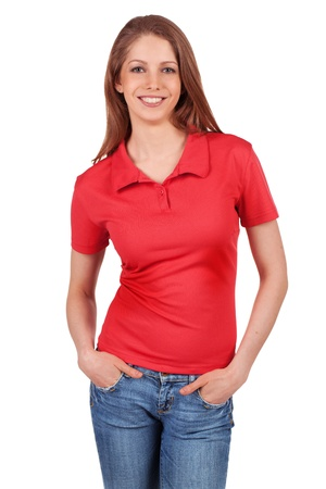 Pretty brunette in blue jeans and a red t-shirt