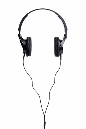 Pair of black headphones on a white background