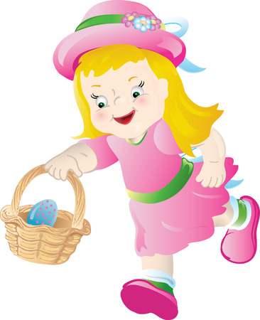 Illustration for Little girl in pink, hunting for Easter eggs. - Royalty Free Image
