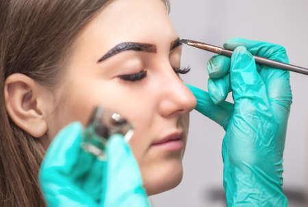 Foto de makeup artist applies paint henna on eyebrows in a beauty salon. Professional care for face. - Imagen libre de derechos
