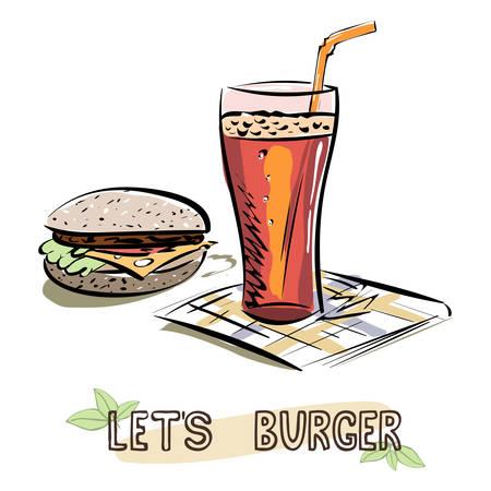 Illustration pour Let's Burger sketch. Burger and glass of lemonade on napkin. Vector illustration - image libre de droit