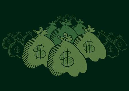 Illustration pour Many money bags hidden in the dark - image libre de droit