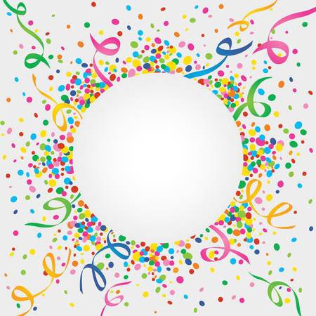 Illustration for White background of carnival confetti and streamers - Royalty Free Image