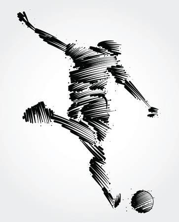Ilustración de Soccer player ready to kick the ball made of black brushstrokes - Imagen libre de derechos