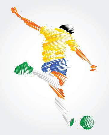 Ilustración de Soccer player ready to kick the ball made of colorful brushstrokes - Imagen libre de derechos