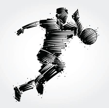 Ilustración de Soccer player running behind the ball made of black brushstrokes - Imagen libre de derechos