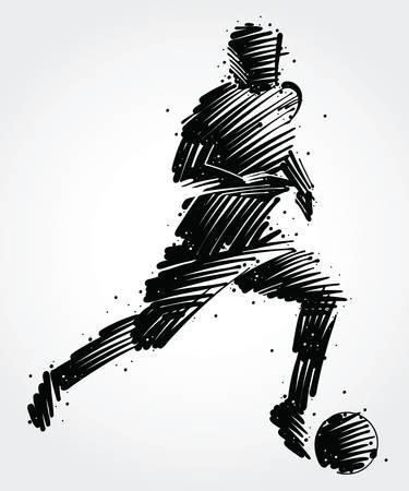 Ilustración de Soccer player carrying the ball made of colorful brushstrokes - Imagen libre de derechos