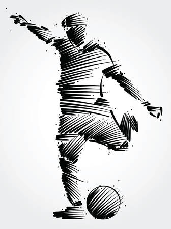 Ilustración de Soccer player running to kick the ball made of black brushstrokes on light background - Imagen libre de derechos