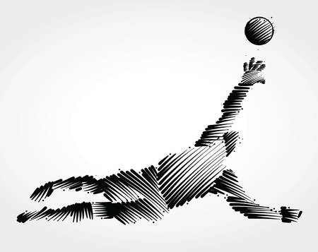 Ilustración de Goalkeeper jumping to catch the ball made of black brushstrokes on light background - Imagen libre de derechos