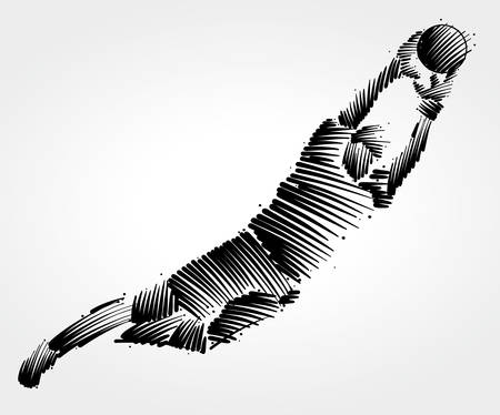 Ilustración de Goalkeeper flying to the ball made of black brushstrokes on light background - Imagen libre de derechos