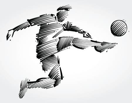 Ilustración de Soccer player flying to kick the ball made of black brushstrokes on light background - Imagen libre de derechos