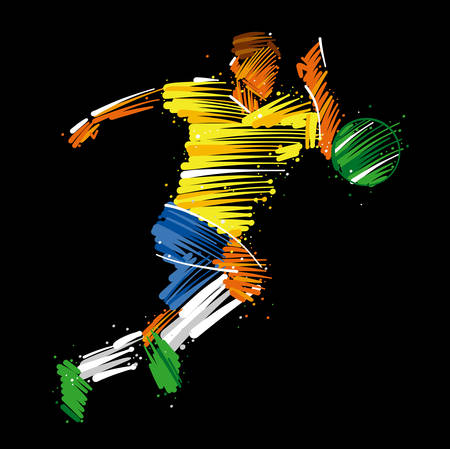 Ilustración de Soccer player running behind the ball made of colorful brushstrokes on dark background - Imagen libre de derechos