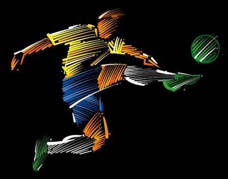 Ilustración de Soccer player flying to kick the ball made of colorful brushstrokes on dark background. - Imagen libre de derechos