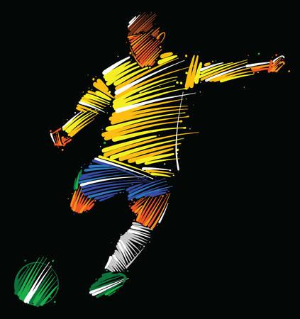 Ilustración de Soccer player kicking the ball made of colorful brushstrokes on dark background - Imagen libre de derechos