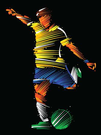 Ilustración de Soccer player running to kick the ball made of colorful brushstrokes on dark background - Imagen libre de derechos