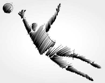 Ilustración de Goalkeeper trying to catch the ball made of black brushstrokes on light background. - Imagen libre de derechos