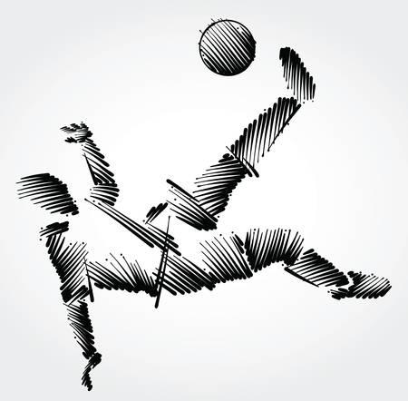 Ilustración de Soccer player stretching to dominate a balll made of black brushstrokes on light background - Imagen libre de derechos