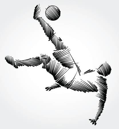Ilustración de Soccer player falling trying to kick the ball made of black brushstrokes on light background - Imagen libre de derechos