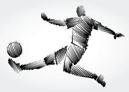 Ilustración de Soccer player stretching the body to dominate the ball made of black brushstrokes on light background - Imagen libre de derechos