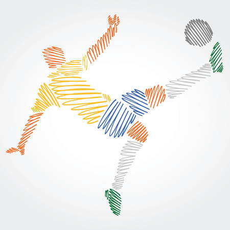Ilustración de Soccer player from Brazil stretching the body to dominate the ball, made of colorful strokes on light background - Imagen libre de derechos