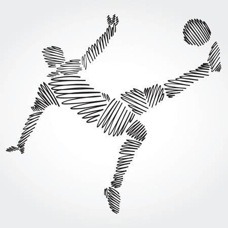Ilustración de Soccer player stretching the body to dominate the ball made of black strokes on light background - Imagen libre de derechos