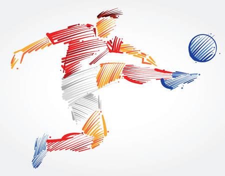 Ilustración de Soccer player flying to kick the ball made of colorful brushstrokes on light background - Imagen libre de derechos