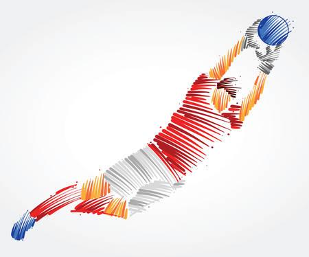 Ilustración de Russian goalkeeper flying to the ball made of colorful brushstrokes on light background - Imagen libre de derechos