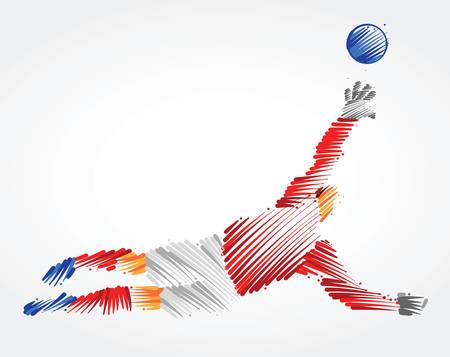 Ilustración de Russian goalkeeper jumping to catch the ball made of colorful brushstrokes on light background - Imagen libre de derechos