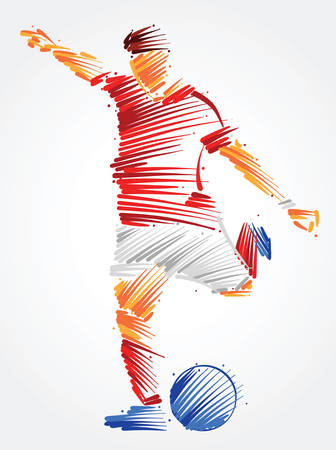 Ilustración de Soccer player running to kick the ball made of colorful brushstrokes on light background - Imagen libre de derechos