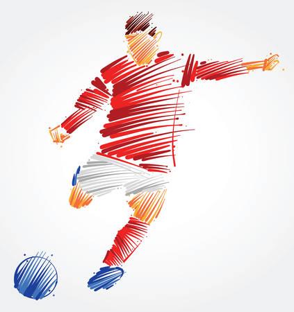 Ilustración de Soccer player kicking the ball made of colorful brushstrokes on light background - Imagen libre de derechos