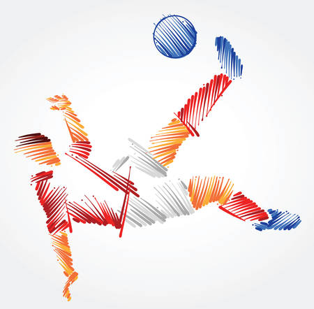 Ilustración de Russian soccer player stretching to dominate a ball made of colorful brushstrokes on light background - Imagen libre de derechos