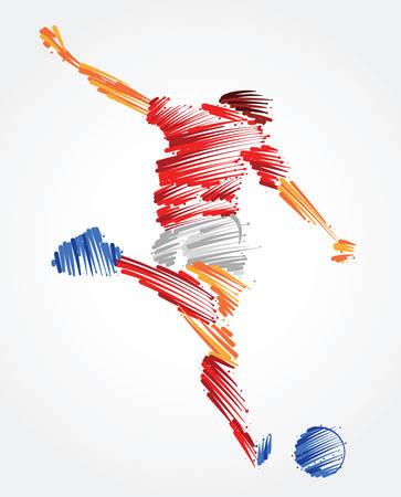 Ilustración de Russian soccer player ready to kick the ball made of colorful brushstrokes - Imagen libre de derechos