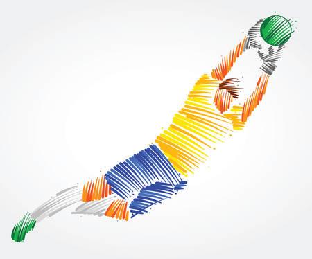 Ilustración de Brazilian goalkeeper flying to the ball made of colorful brushstrokes on light background - Imagen libre de derechos