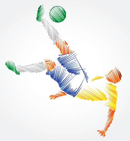Ilustración de Brazilian soccer player trying to kick the ball made of colorful brushstrokes on light background - Imagen libre de derechos