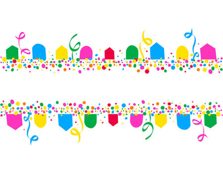 Illustration for Horizontal background of party flags and colorful dots with space to write - Royalty Free Image