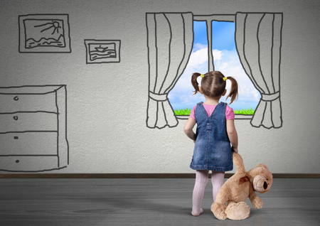 Photo pour Child girl with toy bear look in the drawn window, dream concept - image libre de droit