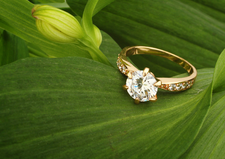 Photo pour Jewellry ring with big diamond on green leafs background - image libre de droit