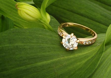 Foto de Jewellry ring with big diamond on green leafs background - Imagen libre de derechos