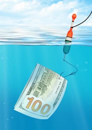 Photo pour Financial trap creative concept, fishing with money on  hook, under water view - image libre de droit