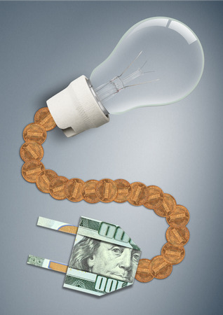 Photo for high price and tariff for electricity concept, bulb with money cable and plug - Royalty Free Image