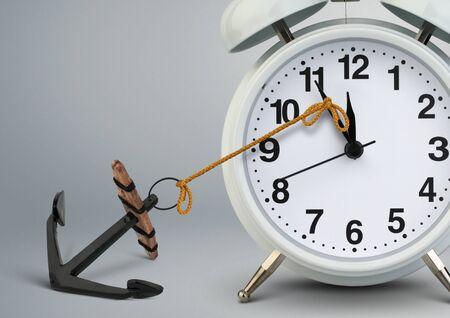Photo pour Stop time concept , clock stop by anchor - image libre de droit