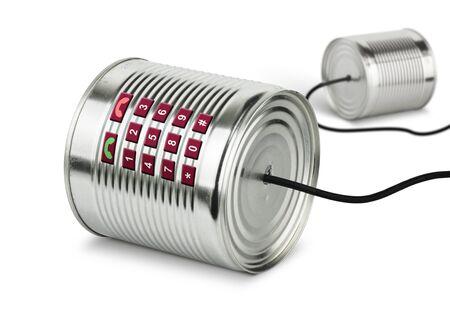 Photo pour Global communication concept, old tin cans telephone - image libre de droit