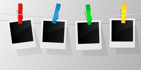 Blank photo frames on a clothesline. Vector illustration.