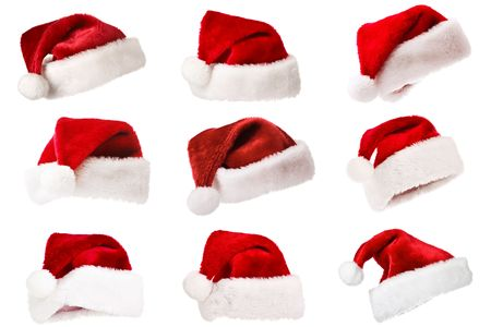 Set of Santa's red hat isolated on white