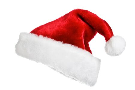 Santa's red hat isolated on white