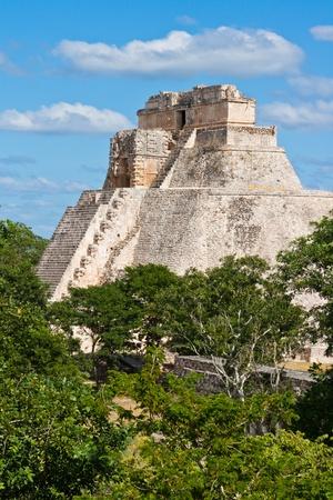 Anicent mayan pyramid (Pyramid of the Magician, Adivino  ) in Uxmal, Mérida, Yucatán, Mexico